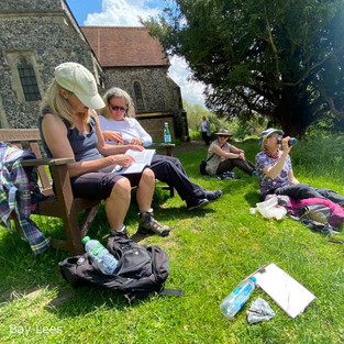 Lunch outside the church of St Peter and St Paul and enjoying the view.