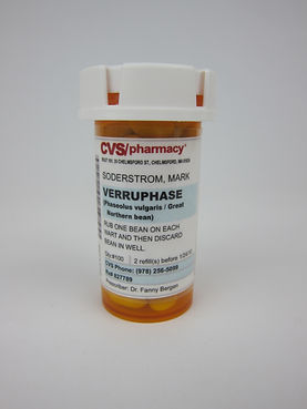 Verruphase: Great Northern Bean, bottle, label, tape