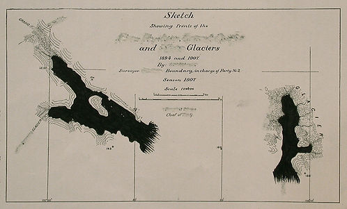 Sketch Showing Fronts of the... and... Glaciers