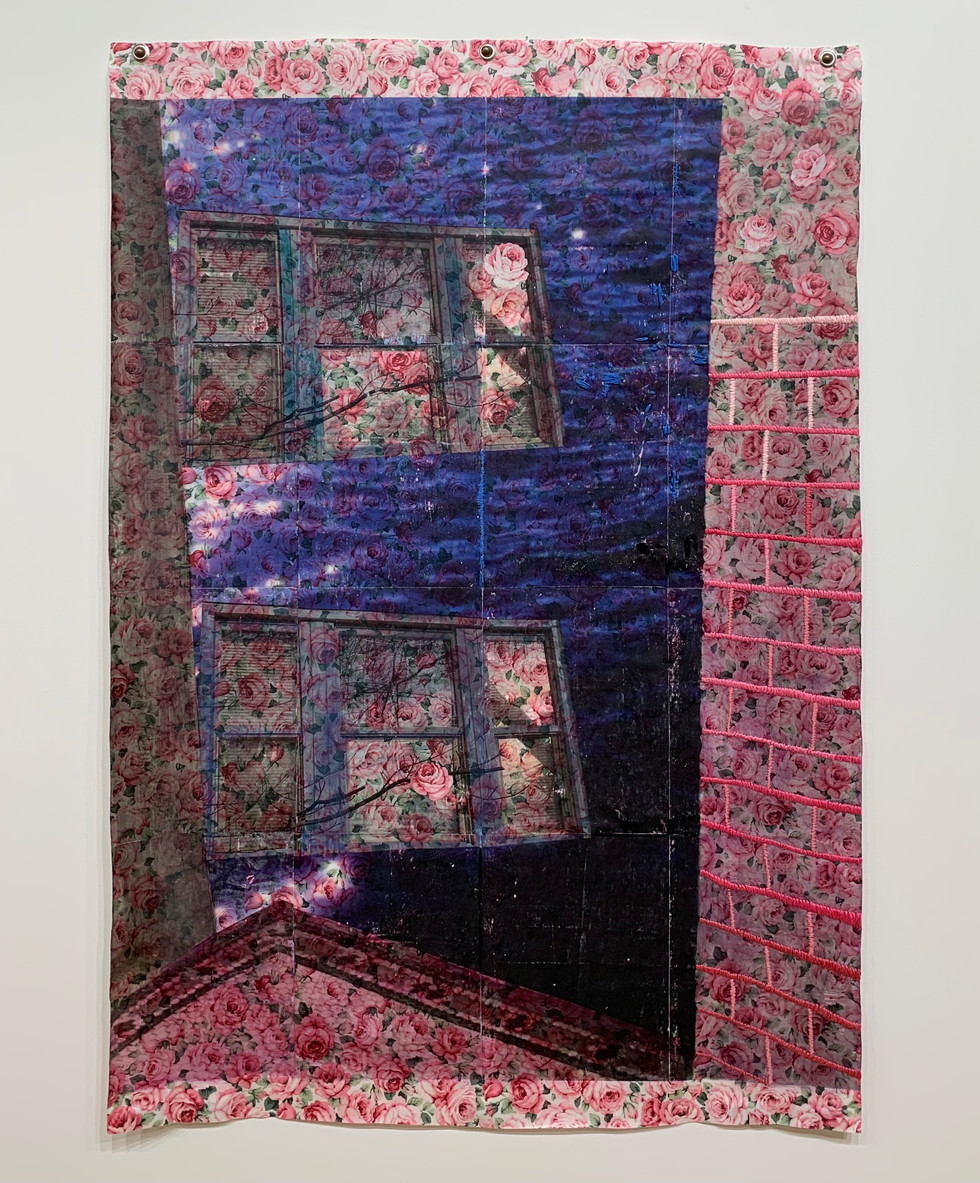 """At the docks, two years ago when we first moved in, 2021, Xerox transfer, string, fabric, 30.5"""" X 44"""""""