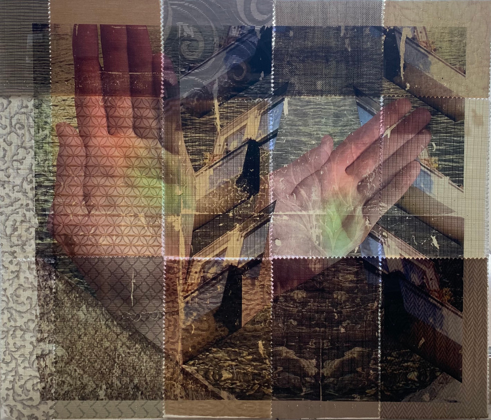 Reaching Out With Willing Hands, 2020, Xerox transfer, fabric, plexi glass
