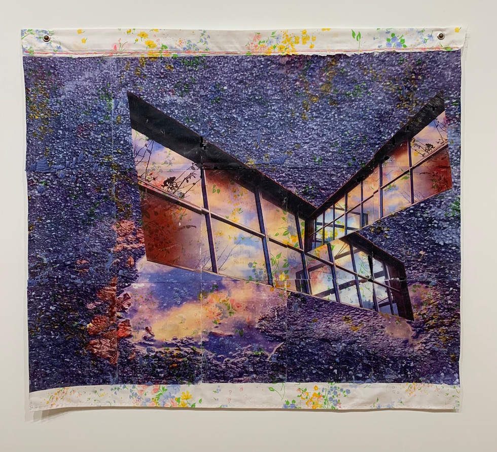 """What shows through, reflecting on the sidewalk, 2021, Xerox transfer, string, 41"""" X 35"""""""