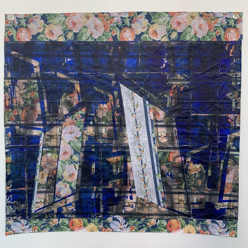 Portals, 2021, Xerox Transfers, Acrylic Paint, Fabric