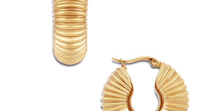 Coria Textured Hoop Earrings