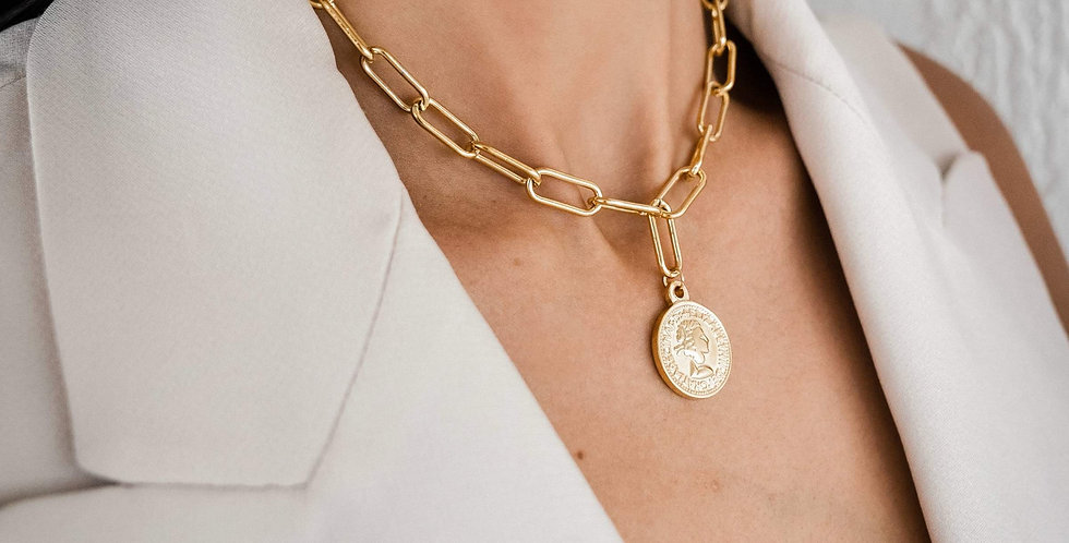 Leonie Coin Link Necklace