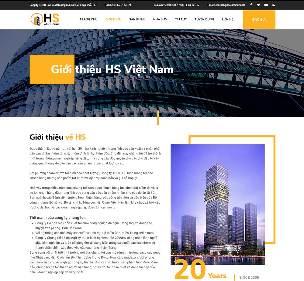 Giao diện trang giới thiệu công ty nhôm HS do Gen Media thiết kế