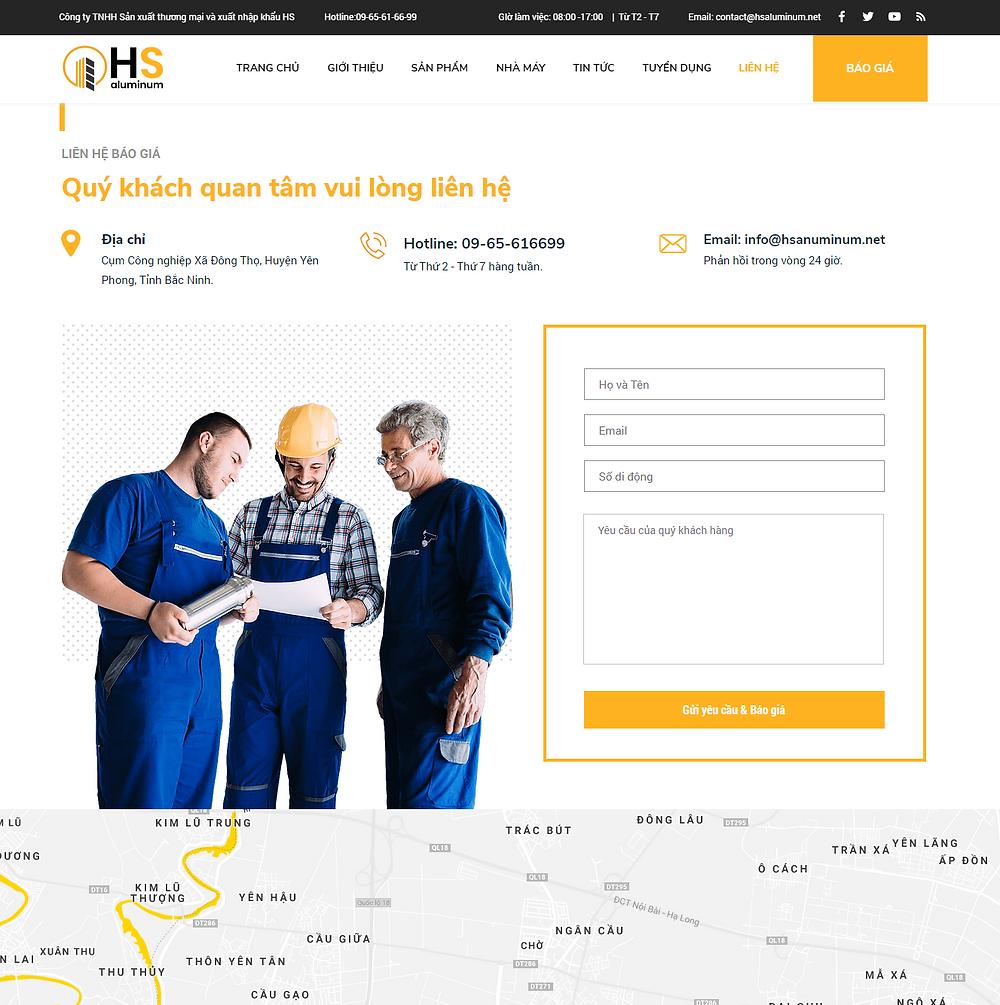 Module trang liên hệ của công ty Nhôm HS do Gen Media thiết kế