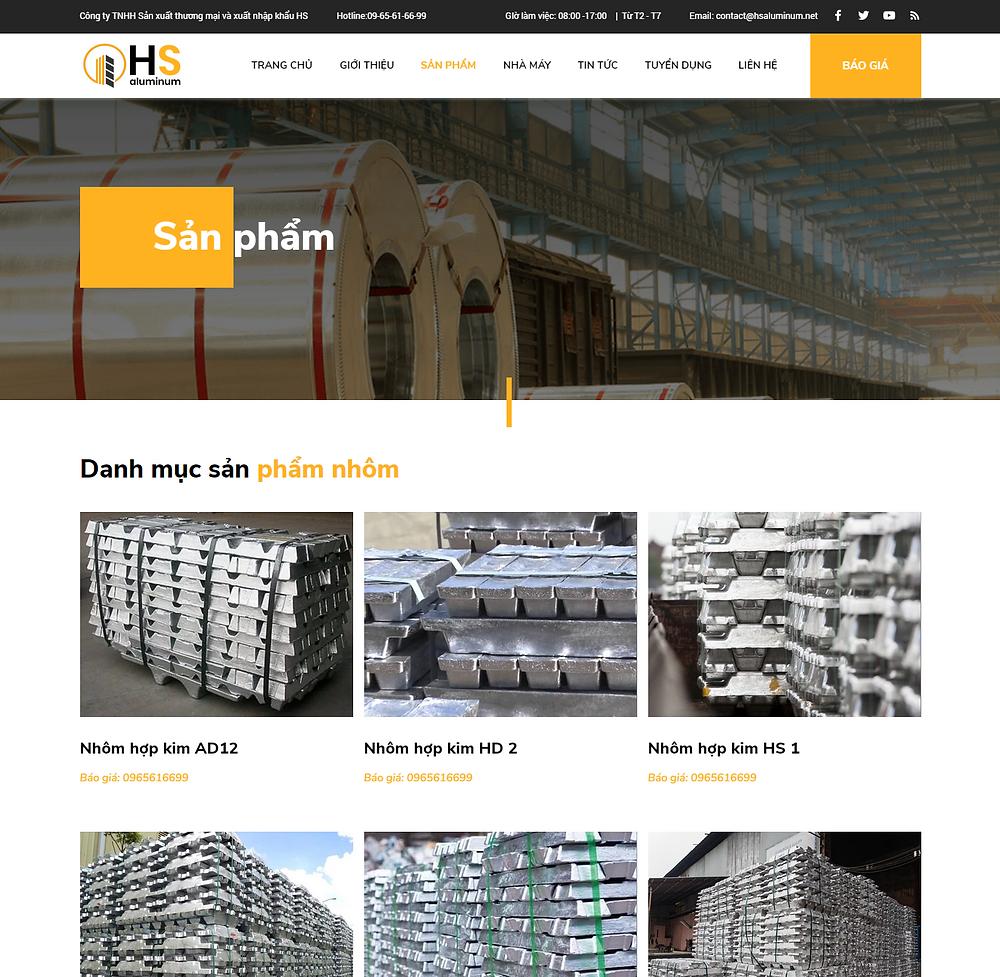 Module sản phẩm trong thiết kế web doanh nghiệp