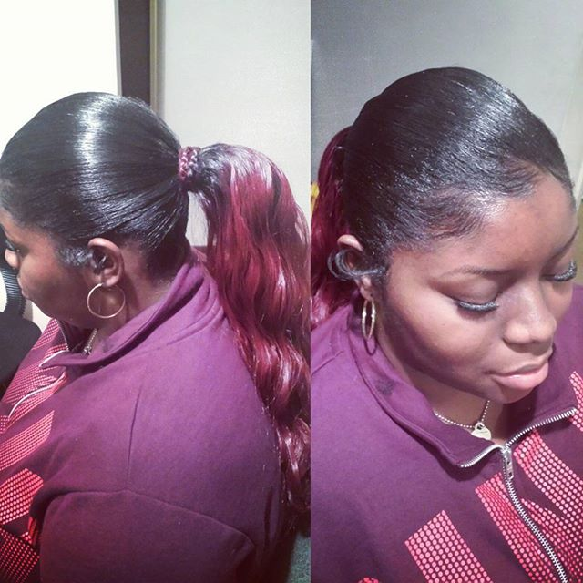 Low Ponytail Action by Me_Eyelashes by Me_Book your next appointment with me (link in bio)_#troyhair
