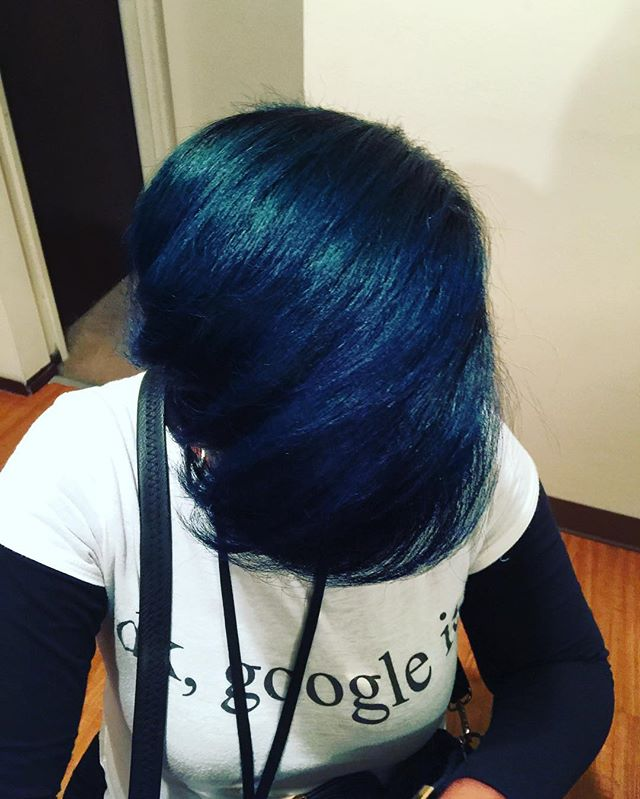 When you turn your clients hair Blue!  Perfection!_#noedgesout #whatfrontal #madisonheightsstylist #