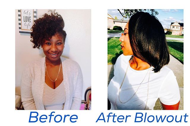 What an amazing transformation_ This lady has highly textured hair and my blow dryer and round brush