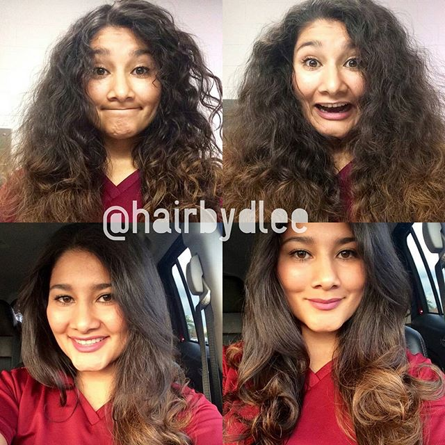 Before and after on My client. .frizzy curly hair to smooth silky flow hair all achieve with just my