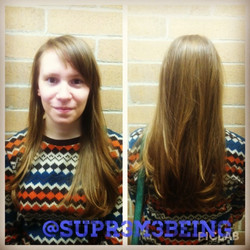 """Instagram - Cut 2"""" and some long layers and styled her hair today. Changed her part for a different"""