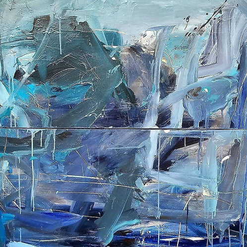 OCEAN ABSTRACT DIPTYCH