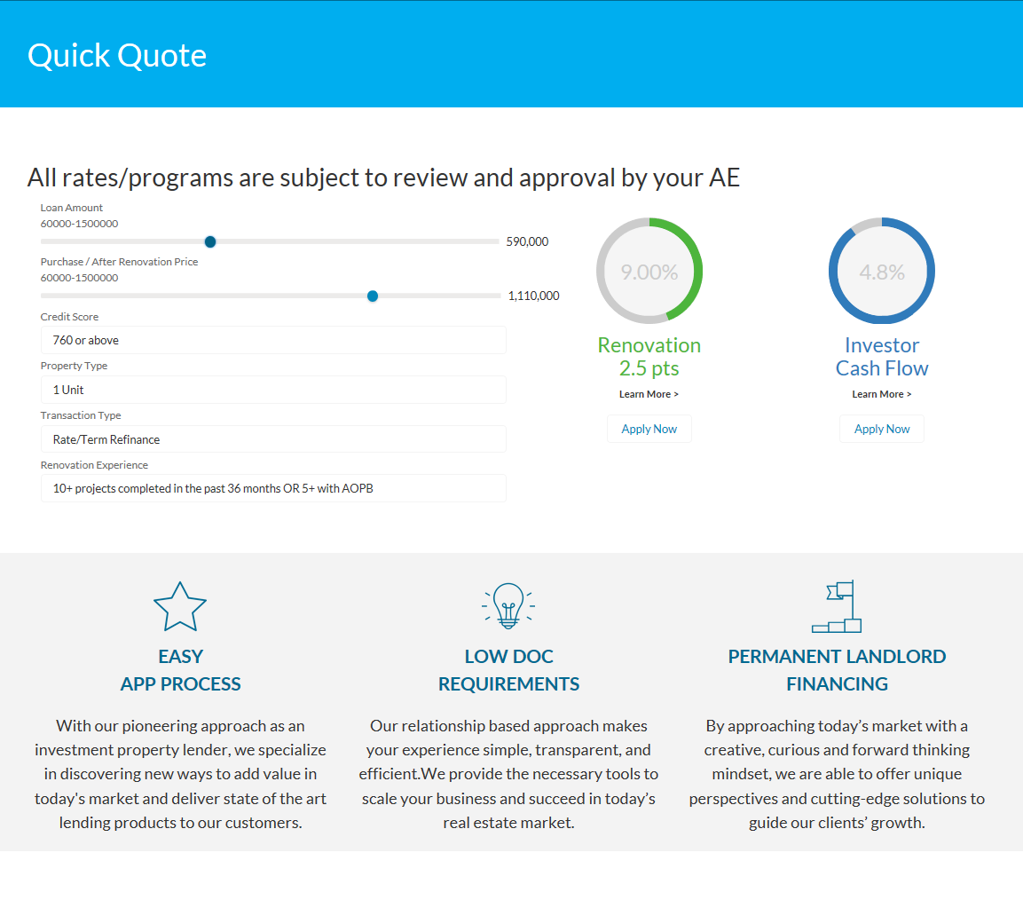 Quick Quote Web Application
