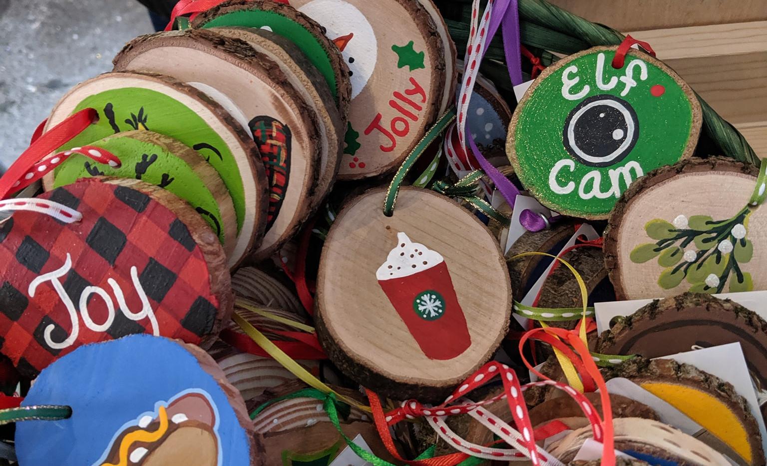 Marais Handmade Wood Slice Ornaments