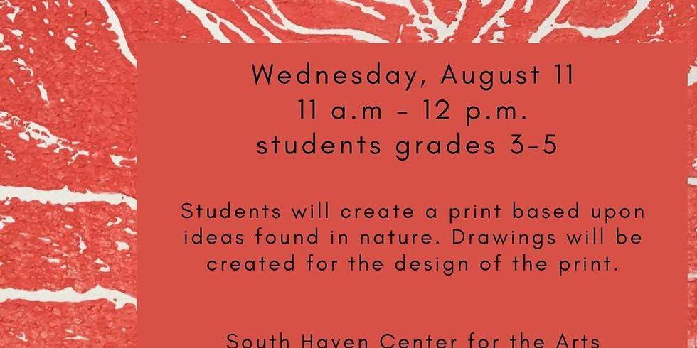 Nature Inspired Printmaking Art, Children's Class  3-5