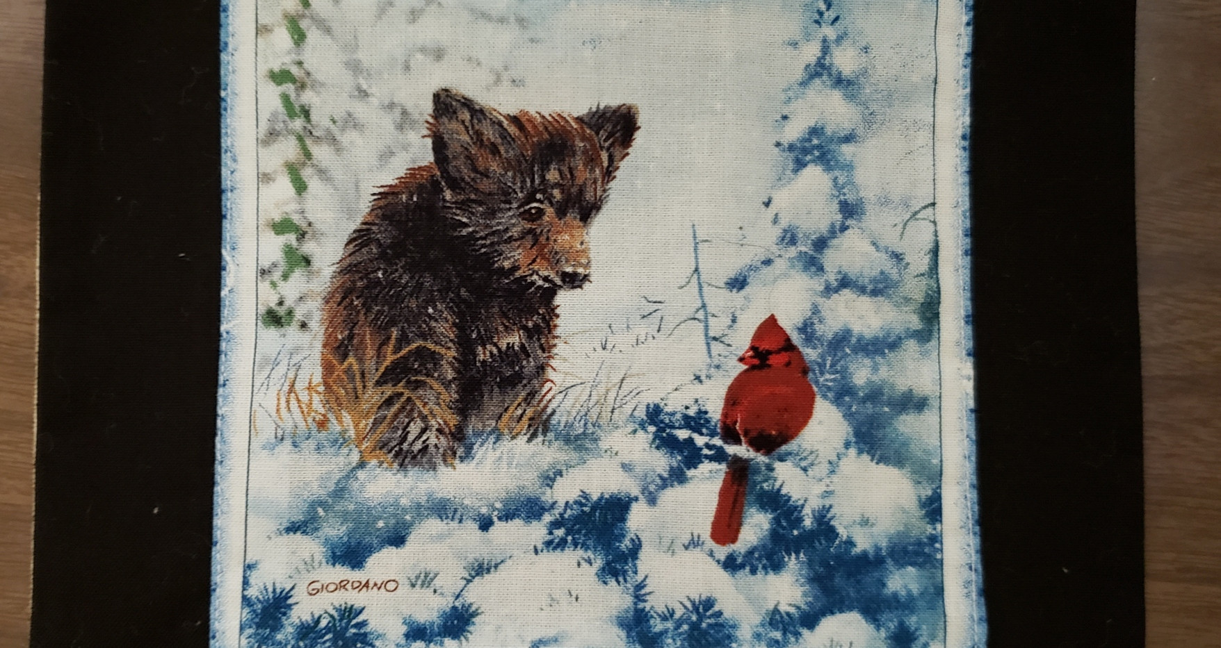 Bear Cardinal Hotpad by Angie Larsen