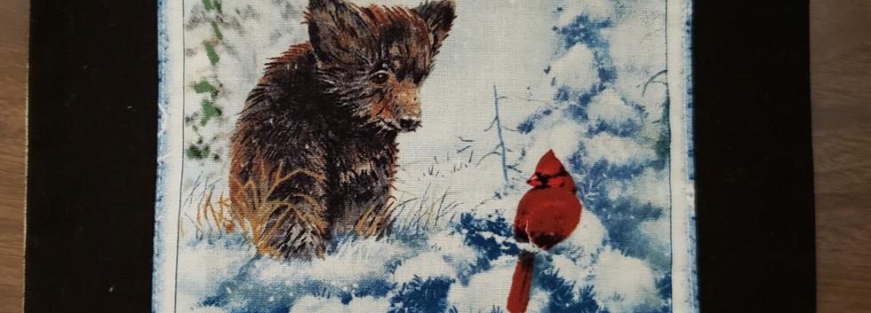 Bear Cardinal Hotpad by Angie Larsen