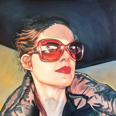 Self-Portrait With Red Shades by Jennifer Ross