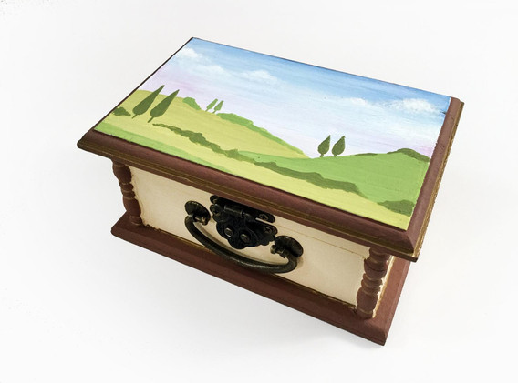 Hand painted trinket boxes by Christine Banks