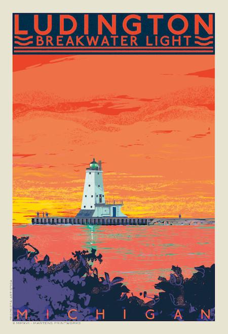 Ludington Sunset by Martens Printworks