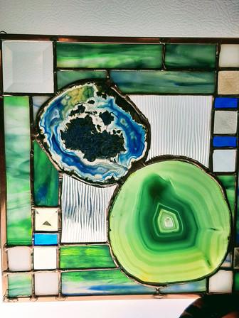 Blue/Green Geometric Geodes by Leslie Elrod