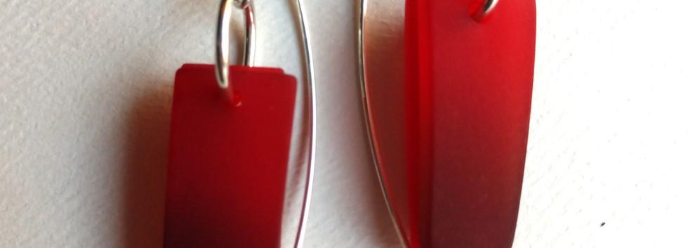 Small drops red earrings by Maggie Joyce