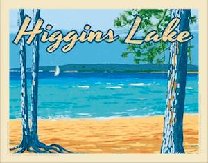Higgins Lake by Martens Printworks