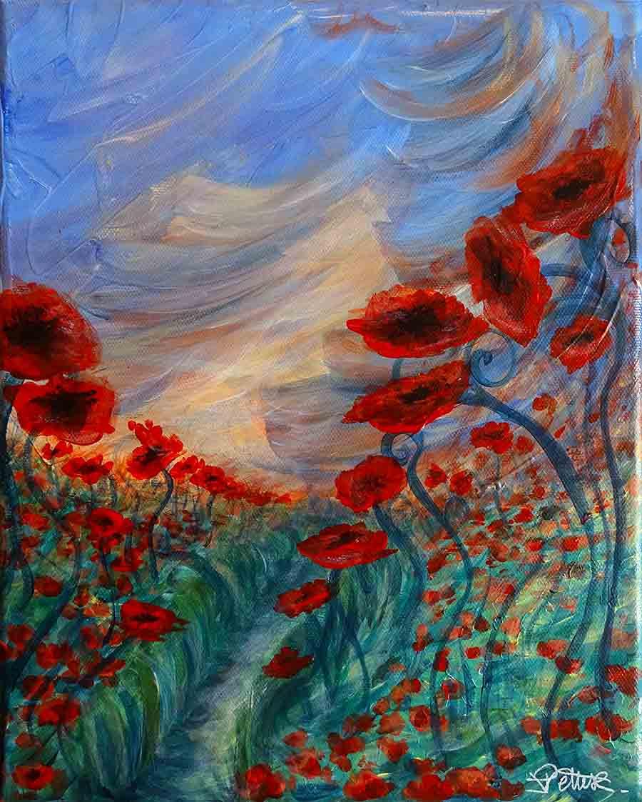 peinture florale moderne