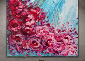 "Abstract flowers painting - ""Les pivoines exaltées"""