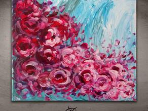 Tableau abstrait de fleurs roses- Les Pivoines Exaltées
