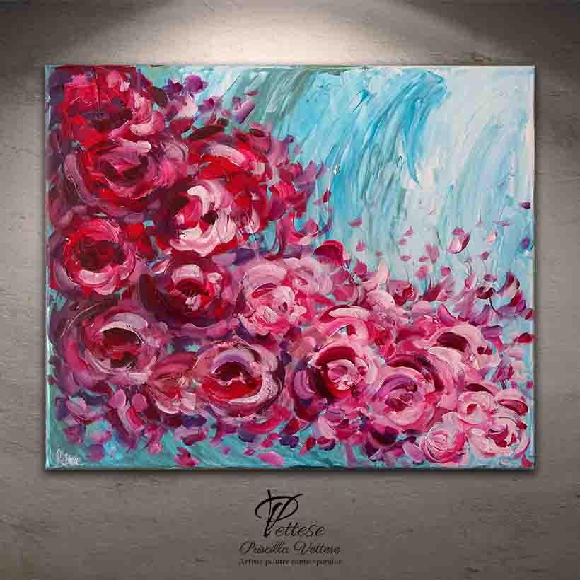 tableau abstrait fleurs roses