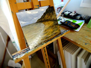 Petite peinture paysage d'une plage