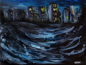 Tempête sur la ville : Peinture abstraite urbaine