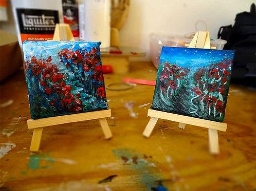 peinture miniature fleurs