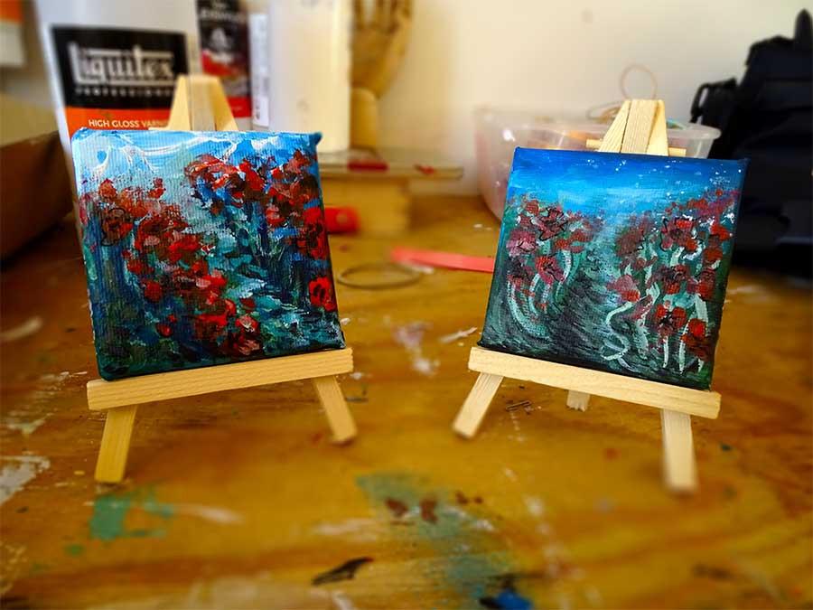 peinture mini coquelicots