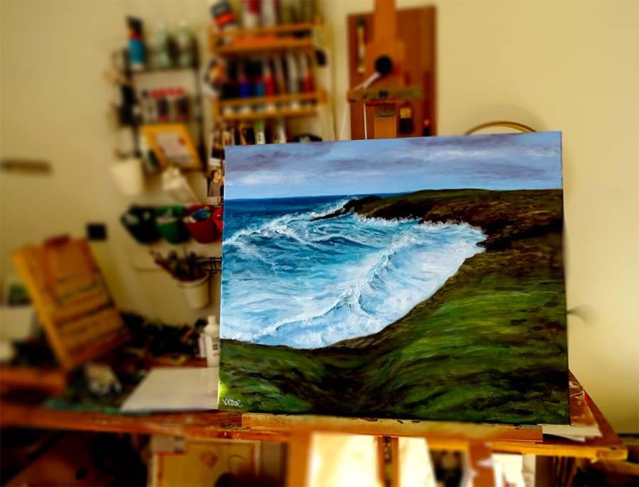 peinture marine sur chevalet