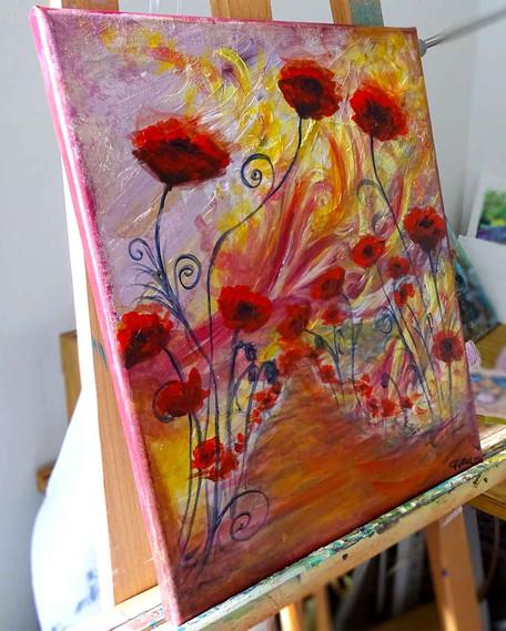 Peintures florales sur toile en galerie d'art à Barbizon
