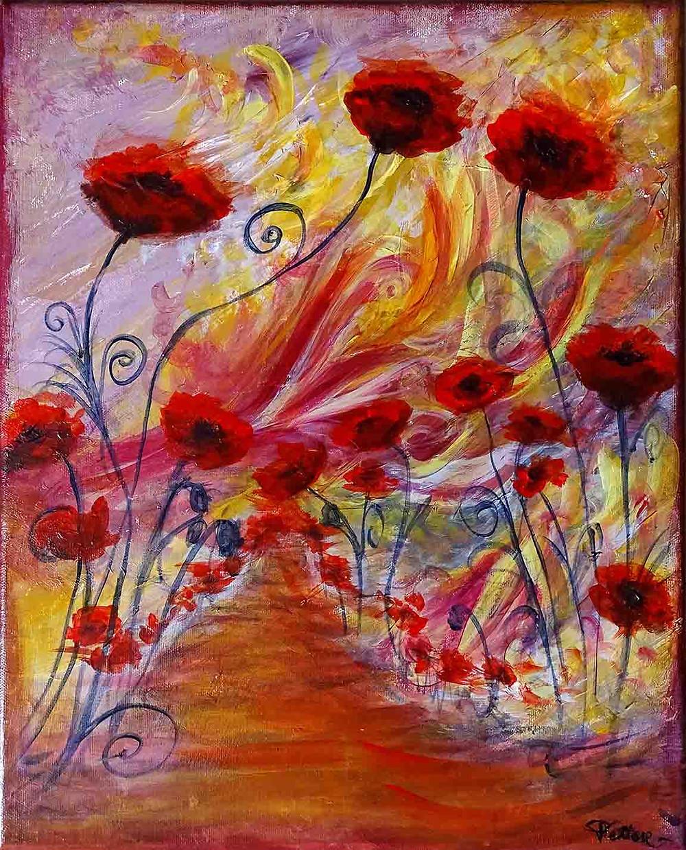 tableau fleurs rouges