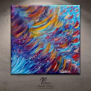 peinture abstraite bleu violet
