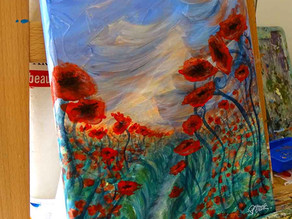 Floral paintings on canvas in Barbizon art gallery