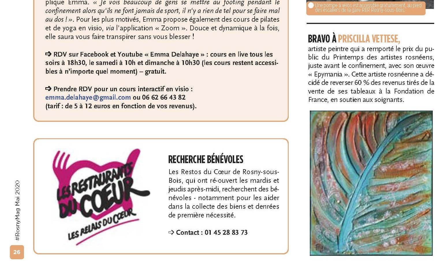 Publication in Rosny Mag of the city of Rosny sous Bois