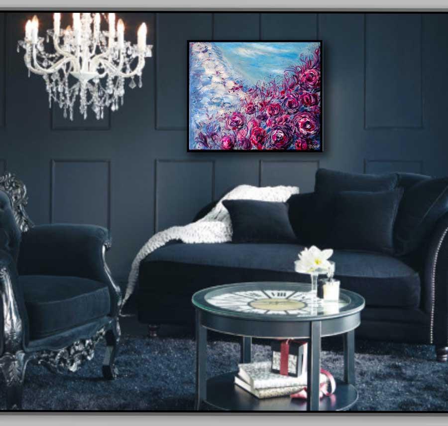 peinture contemporaine fleurs