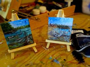 Des tableaux petit format : petites peintures marines
