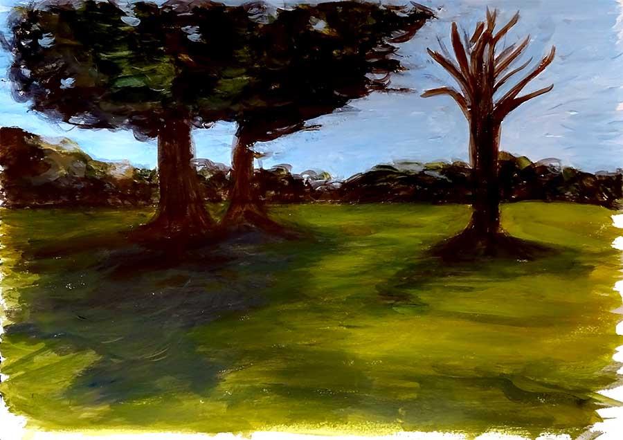 paysage verdoyant peinture