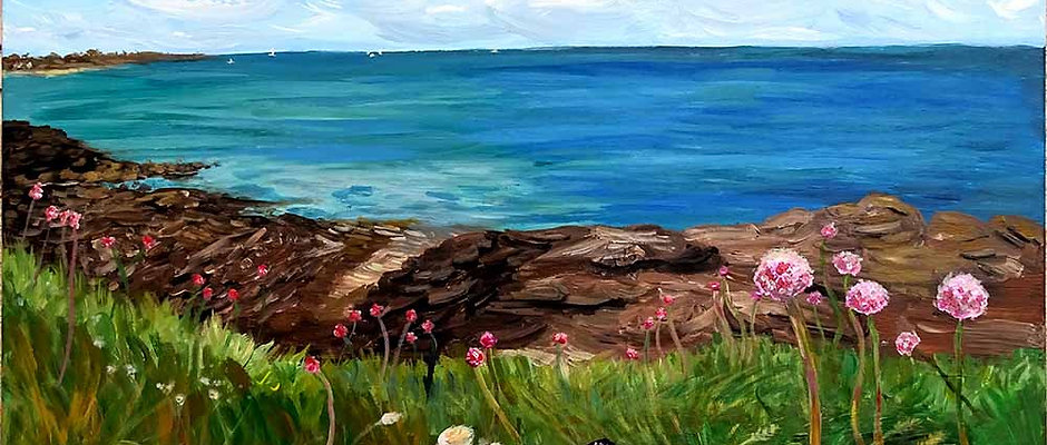 """Peinture paysage mer - """"Quiberon"""" - (Fondation de France)"""
