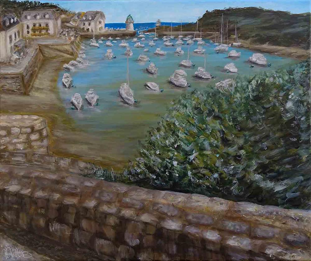 peinture paysage voiliers port