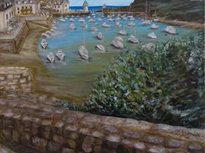 """Belle Ile en Mer"" peinture paysage du port"