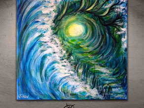 Modern blue green abstract painting on canvas